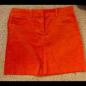 J. Crew orange Corduroy mini Skirt Size 2